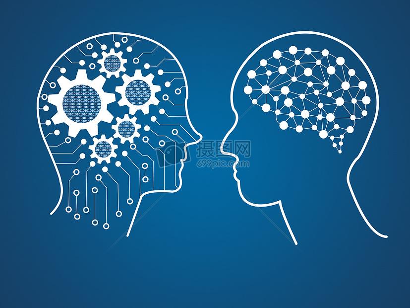 大脑思考思维人工智能蓝色背景下的创意大脑图片蓝色背景下的创意大脑