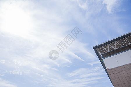 校园体育馆清新多云天空图片