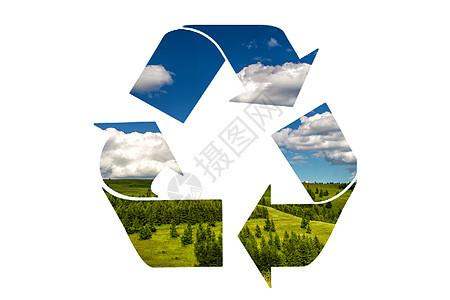 循环利用标志草地背景图片