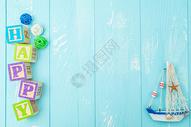 夏季夏天清凉蓝色木纹背景图片