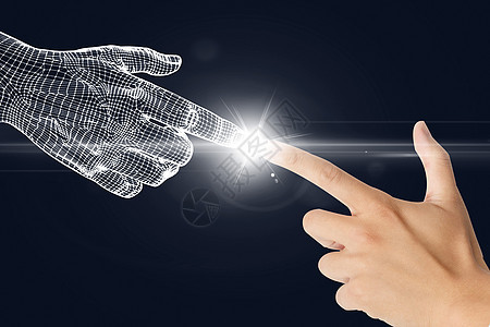 科技手指蓝底特写图片