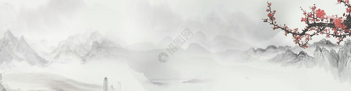中国风水墨山水画背景图片