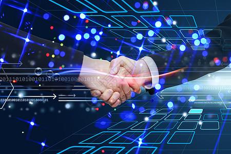 科技背景握手图片