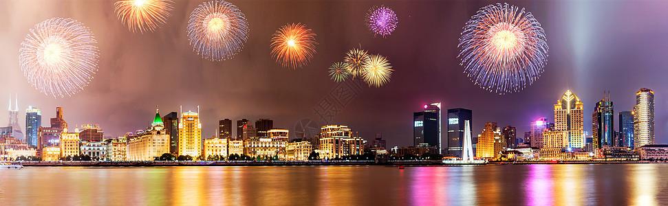 美丽的黄浦江畔夜景图片