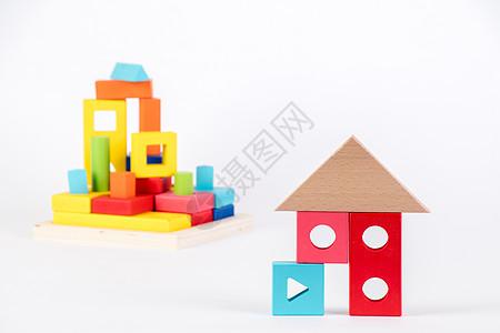 儿童益智积木玩具留白图片