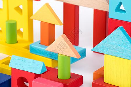 儿童积木彩色房子白底高清图片