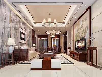 新中式客厅设计效果图图片