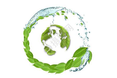 树叶清水环绕绿叶地球图片