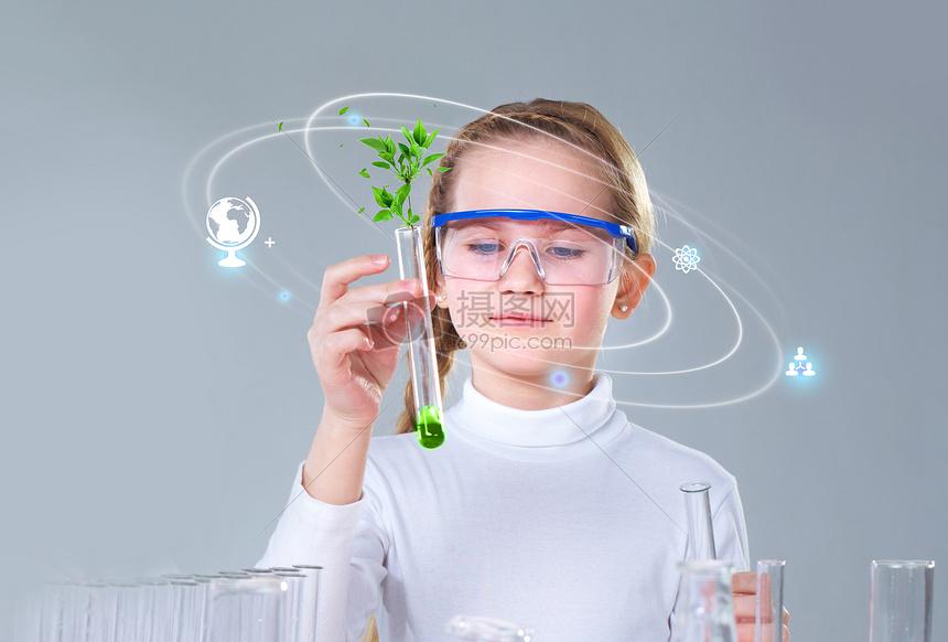 做化学实验的女孩图片