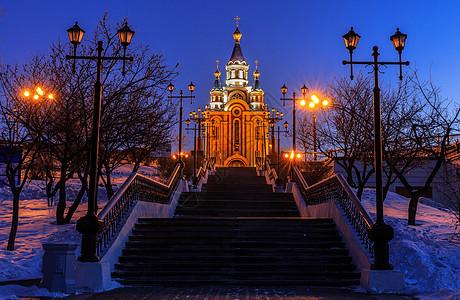 城市夜景,教堂夜景图片