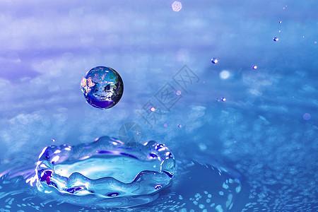 水滴中的地球图片