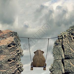 大象荡秋千图片