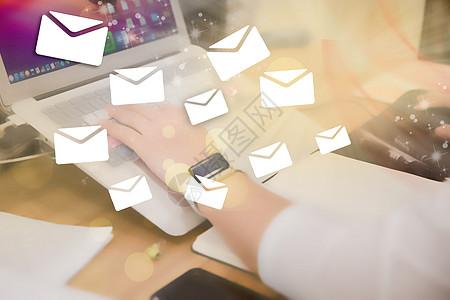 手敲键盘写电子邮件高清商务图图片