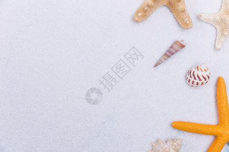夏日海滩白沙海螺海星素材图片