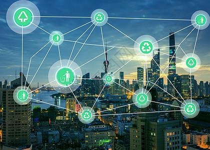 城市绿色环保网络图图片