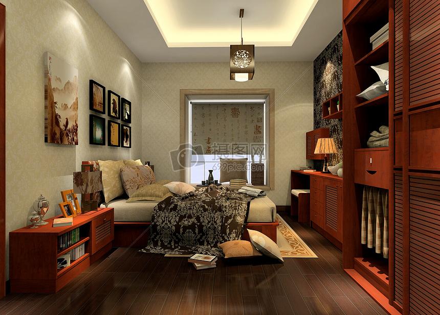新中式卧室效果图摄影图片免费下载_室内设计图库大全