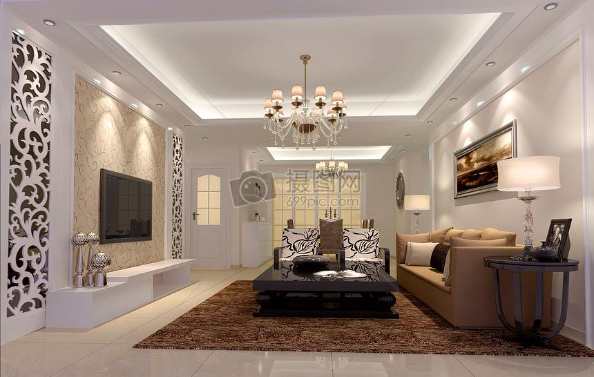 簡歐石膏線電視背景墻簡約舒適雕花裝修歐式效果圖大氣吊頂設計客廳