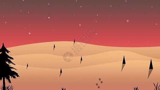 手绘-夜空下的寂静沙漠图片