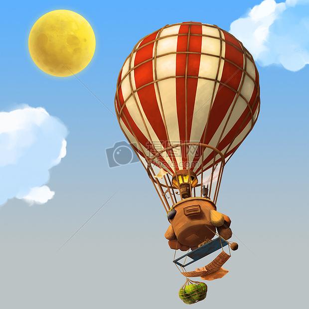 创意手绘-热气球飞行在天空