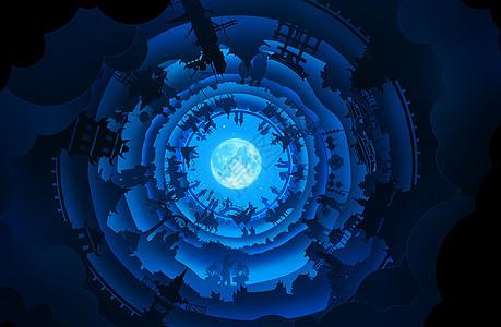 C4D创作-不同时代的剪影合成时光隧道图片