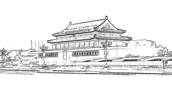 北京天安门素描图图片