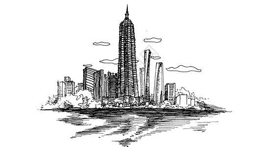 上海外滩素描图片