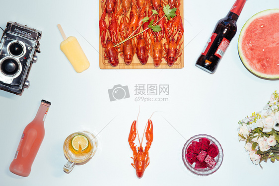 夏日啤酒龙虾图片