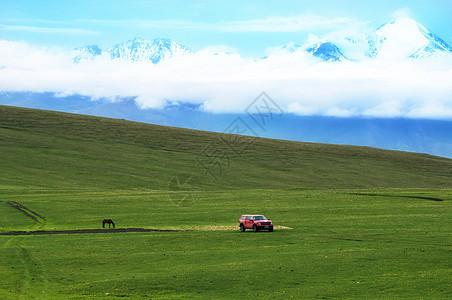 草原雪山原生态现代图片
