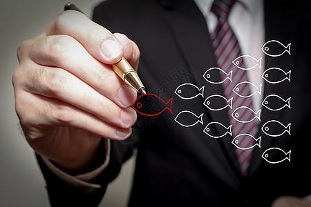 商人在团体领导的概念中画鱼图片