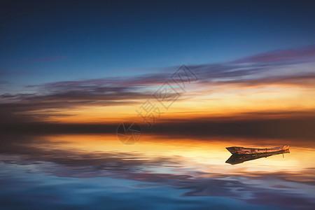 小船海边日落图片