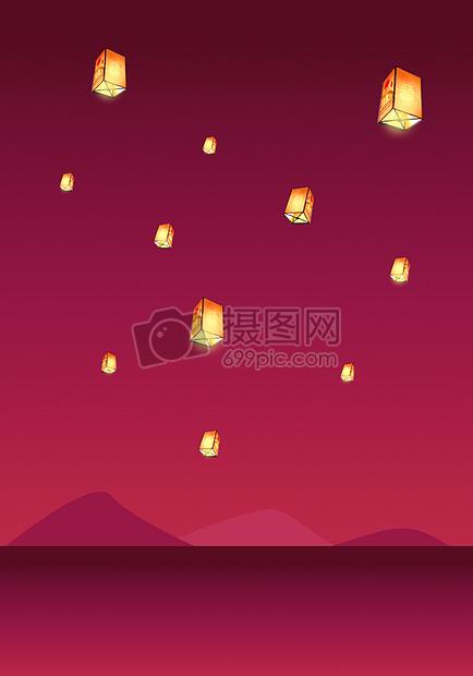 手绘-孔明灯的夜空
