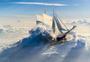 在云中航行的帆船图片
