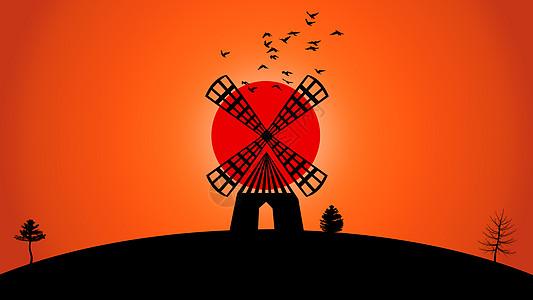 手绘-落日中的风车图片