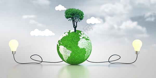 创意绿色背景-为地球充电图片