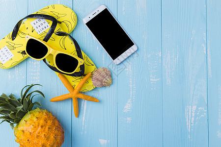 夏日墨镜凤梨海星手机素材图片
