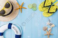 夏日帽子墨镜拖鞋柠檬素材图片