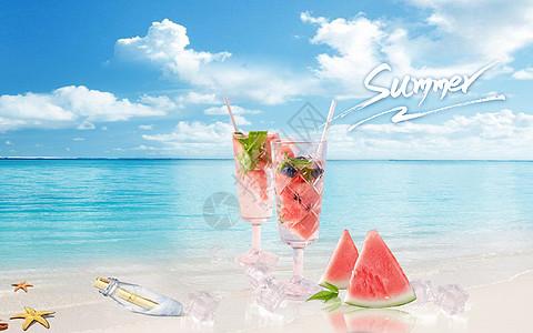 卡通夏日海滩炎热的夏天图片