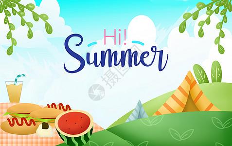 卡通夏日炎热的夏天图片