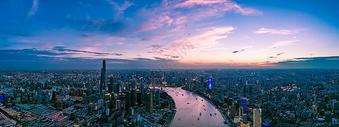 中国上海陆家嘴全景城市夜景风光图片