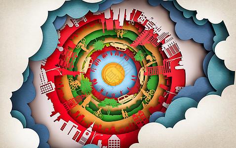 C4D创意设计-现代都市建筑剪影时光隧道图片