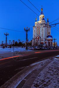 夜幕下的教堂图片
