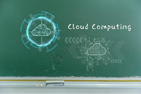 黑板上的互联网云图片