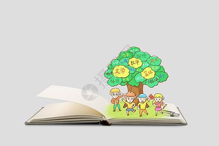 书本上的智慧树图片
