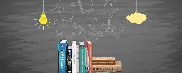 创意书籍黑板背景图片