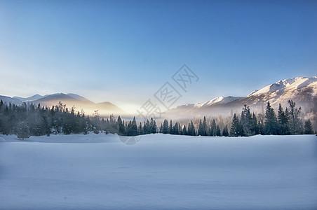 喀纳斯雪山晨雾图片
