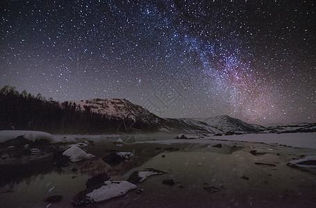 喀纳斯夜空星空银河图片