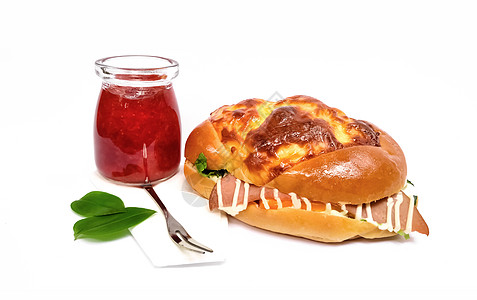 草莓酱面包早餐图片