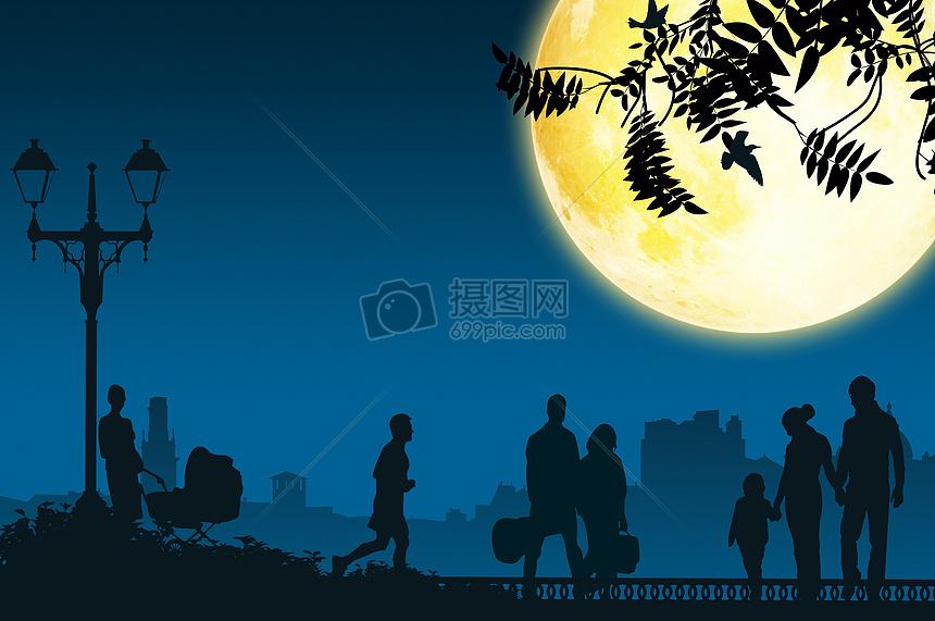 手绘夜晚天空黄色调