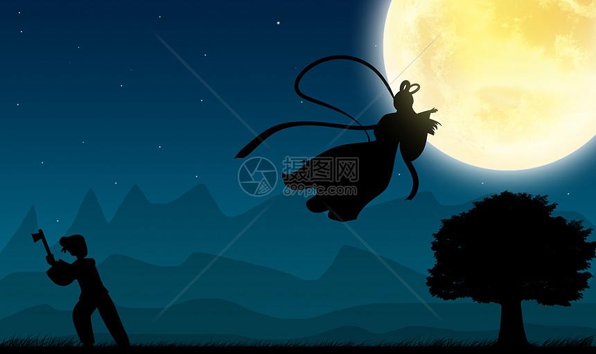创宇手绘剪影-嫦娥奔月图片素材_免费下载_jpg图片