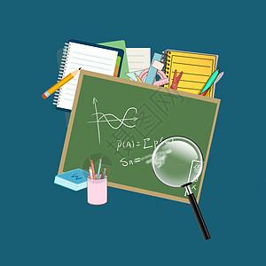 放大镜铅笔黑板等教育类素材图片